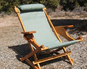 "Alder Wood Sling Chair in Blue Outdoor Fabric with Arm Rests, Headrest, Handle for Camping, Patio, Deck, Pool ""Weepah Prospector"""