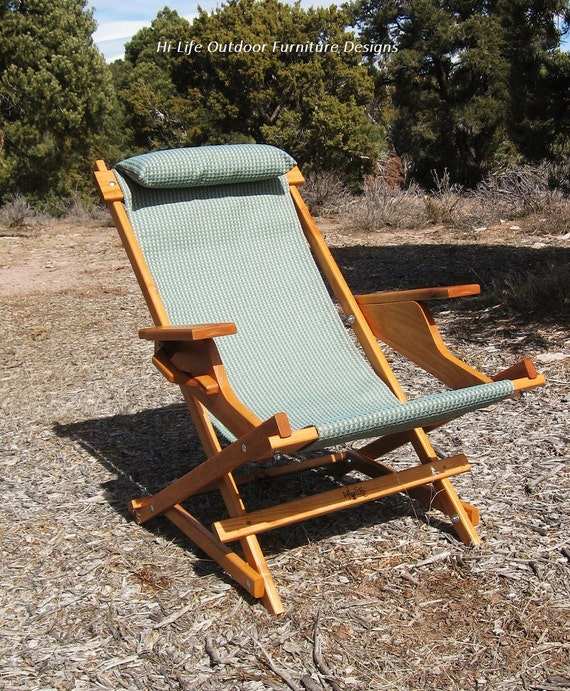 Items Similar To Alder Wood Sling Chair In Blue Outdoor