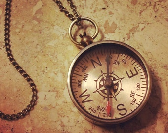 Compass Necklace, Antique Brass, Nautical, Vintage Style Pendant and Chain