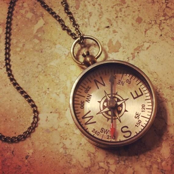 Compass Necklace Antique Brass Nautical Vintage Style