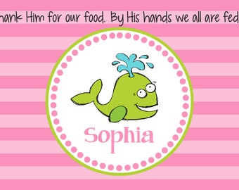 Personalized Placemat - Kids Placemat - Childrens Placemat - Childs Placemat - Laminated Placemat - Baptism Gift - Preppy Whale Girl