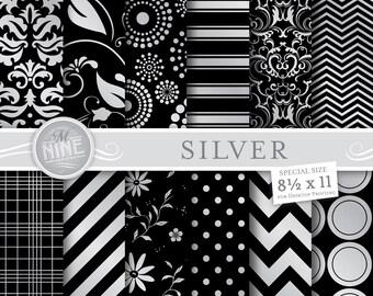"SILVER Digital Paper Metallic Style Pattern Prints, Instant Download, 8 1/2"" x 11"" Patterns Scrapbook Backgrounds Print Art Deco"
