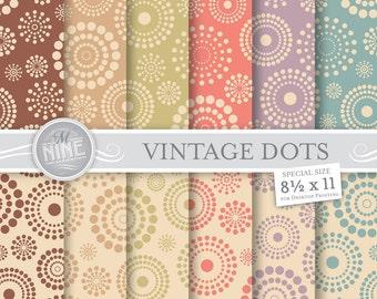 """VINTAGE DOTS Pattern Digital Paper Pack Pattern Prints, Instant Download, 8 1/2"""" x 11"""" Patterns Backgrounds Scrapbook Print Vintage Palette"""