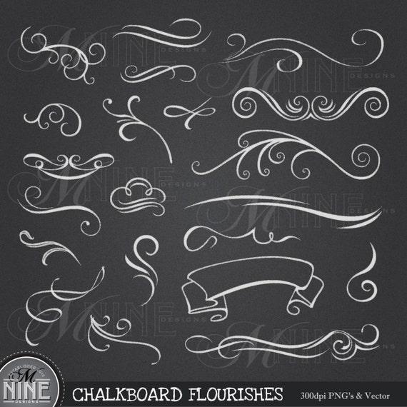 chalkboard clip art chalk flourishes clipart