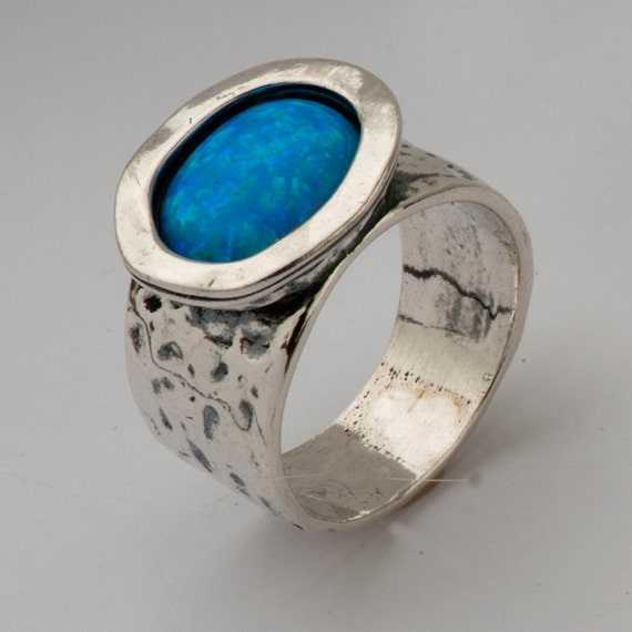 sterling silver and opals unisex gemstones ring - Hug me.