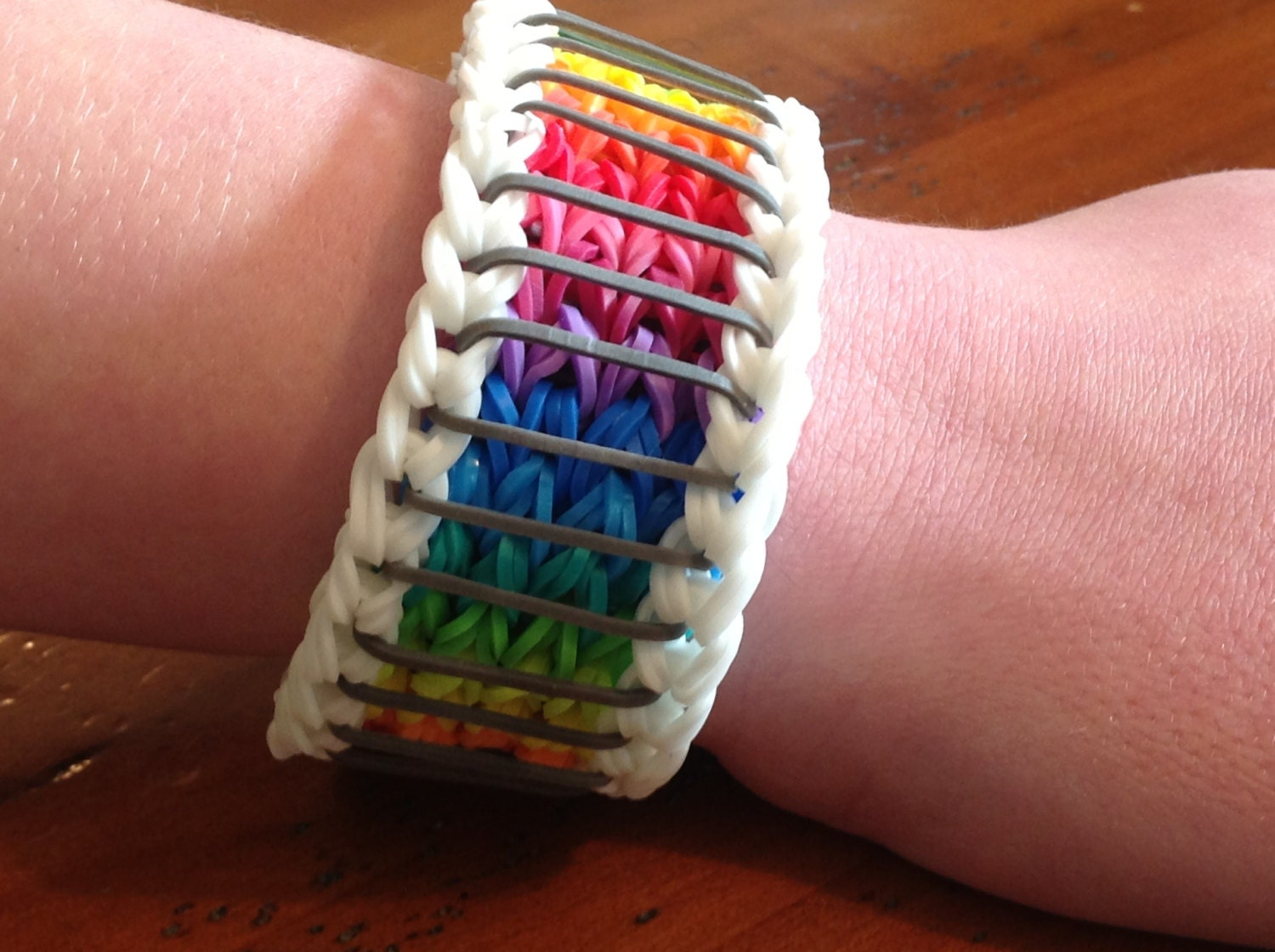 Rainbow Loom Bracelet Sailor's Pinstripe by EmzDesignz on Etsy