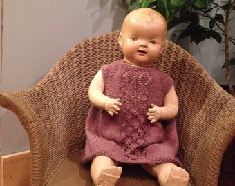 """Hand knit """"Lace"""" baby girl dress"""