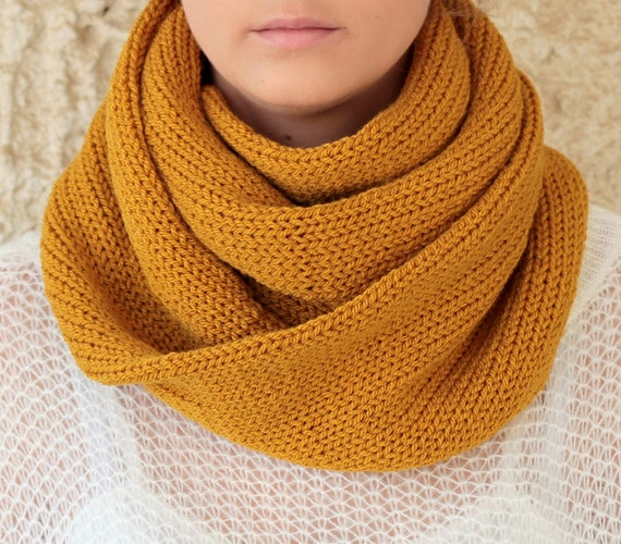 Knit Scarf with button infinity scarf circle scarf by ...