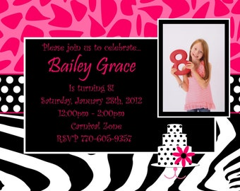 Zebra Cheetah Birthday Invitation