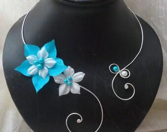 Collier mariée fleurs de soie turquoise blanc mariage soirée Bridal necklace silk flowers blue turquoise white wedding evening