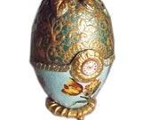 "Tulips - Decoupage Papier Mache Christmas Easter Faberge Egg Victorian Style 5,1""-3,74"" (13-9,5cm) golden green decor ornament gift for her"