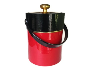 Mid-Century Ice Bucket, Red and Black, Kraftware, New York, 1960s