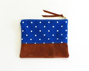 "8"" Blue Polka Dot Vintage Fabric & Repurposed Suede Zipper Pouch"