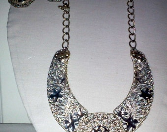 Vintage Silvertone Chunky Necklace Set