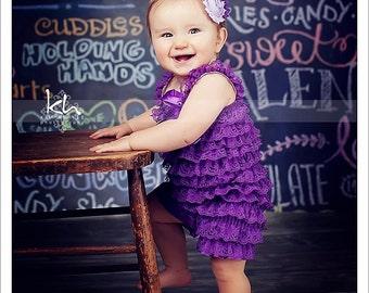 Grape lace petti romper - purple lace romper - 1st birthday outfit