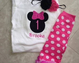 Hot pink and black minnie mouse birthday outfit - 1st birthday shirt leg warmers and headband - custom birthday shirt