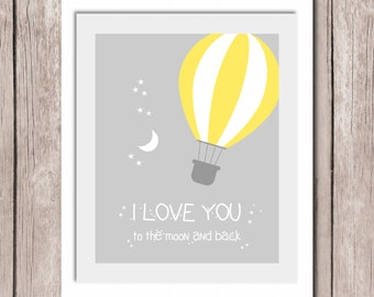 "INSTANT DOWNLOAD - ""I love you to the moon and back"" Quote - Printable Wall Art Print 8""x10"" (jpeg file) Nursery"