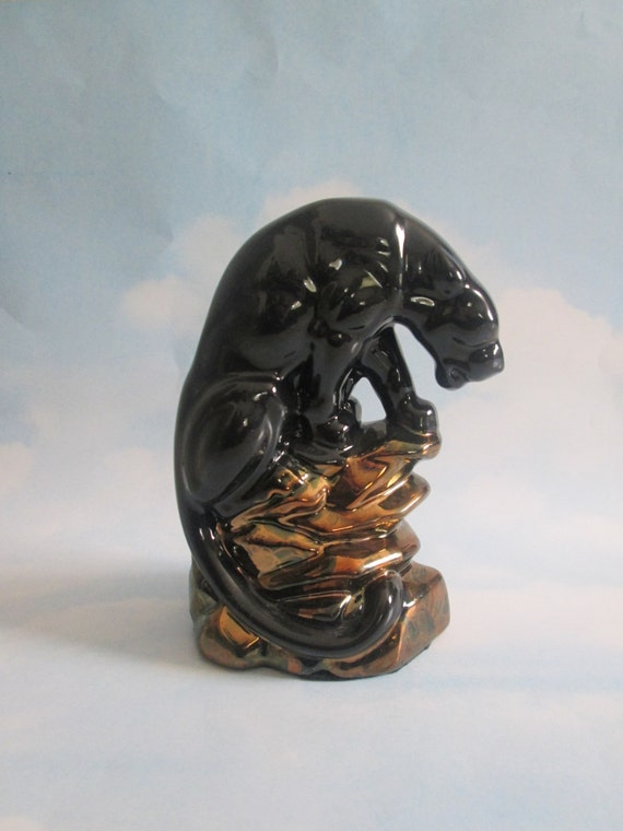 Ceramic panther black on rock hand painted black by ceramicslodge - Ceramic black panther statue ...