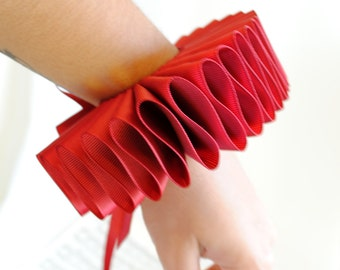 Wine Red Elizabethan Cuffs - One Pair-Made to Order