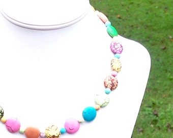 Pastel Turquoise Necklace Multicolor Turquoise Necklace SUPER COLORFUL NECKLACE 15mm Round Gemstone Coin Beaded Necklace - Easter Necklace