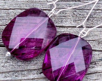 Nevada - Multifaceted Purple Berry Square Beaded Silver Dangle Kidney Hoop Earrings