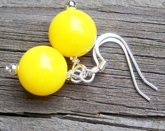 Yellow Earrings Short Yellow Earrings Yellow Dangle Earrings Bright Yellow Earrings Silver Fish Hook - 12mm Round Yellow Bead Earrings