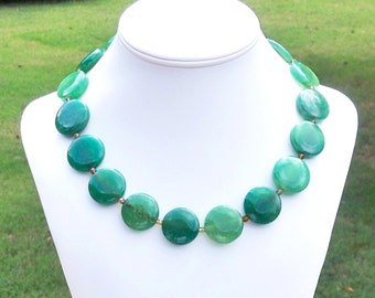 Shannon - Chunky 25mm Round Green Fire Agate Gemstone Beaded Necklace