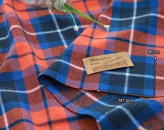 Brushed Cotton Fabric Plaid Orange Blue By The Yard