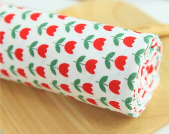 Cotton Fabric Mini Red Tulip By The Yard