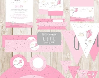 DIY Printable pink kite party kit - Instant download