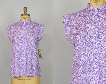 RESERVED / Please Do Not Buy / 60s Silk blouse / Lilac Blouse / 60s Blouse