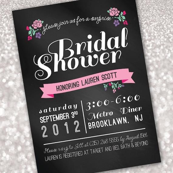 Chalkboard With Flowers Bridal Shower Invitation Digital