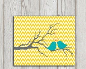 Nursery print Yellow Chevron printable Turquoise love birds Grey Tree Valentine Poster Little girl bedroom art prints Baby girl decor prints - DorindaArt