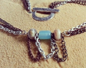 Necklace - Tri-Colored Chain  with Cerulean Blue Sea Glass and Natural Agate Rondelles