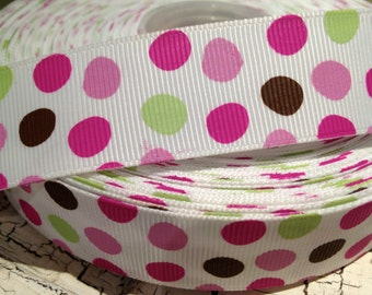 "7/8"" MODERN EASTER Egg DOT Brown Pinks and more Grosgrain ribbon sold by the yard"
