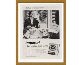 "1957 Imperial Margarine B&W Print AD / Real natural taste / 9"" x 12"" / Original Advertisement / Buy 2 ads Get 1 FREE"