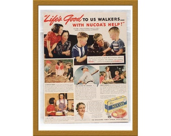 "1940 Nucoa AD / Life's good to us Walkers - with Nucoa's help! / Original Print Ad / 9 5/8"" x 12 5/8"" / Buy 2 ads Get 1 FREE"