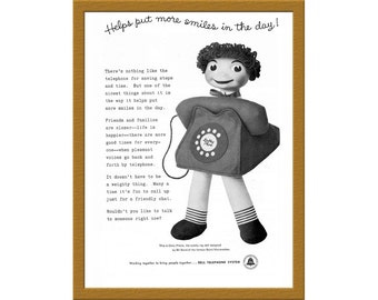 "1957 Bell Telephone System B&W Print AD / Helps put more smiles in the day! / 6"" x 9"" / Original Print Ad / Buy 2 ads Get 1 FREE"