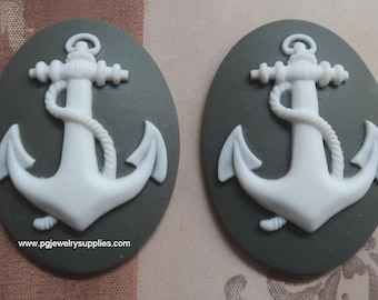 40mm x 30mm anchor cameos white on grey green 2 pieces lot l