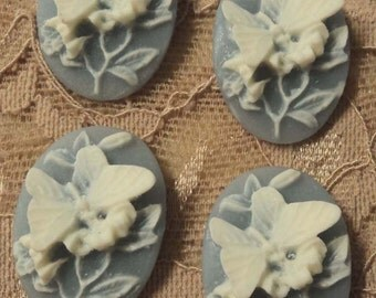 25x18 oval butterfly cabochons cameos resin white on blue 4 pcs