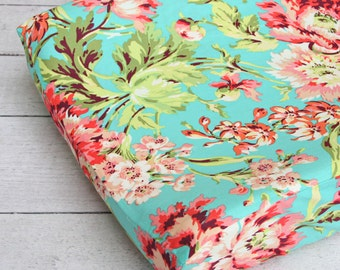 everlys garden changing pad cover coral by cadenlanebabybedding. Black Bedroom Furniture Sets. Home Design Ideas