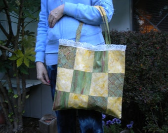 Handmade Green and Gold Patchwork Tote Bag