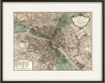 Paris map print map vintage old maps Antique map poster map decor home decor wall map France map Paris print old prints Paris decor 12x16