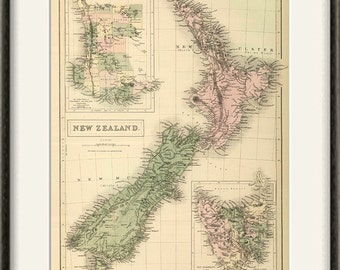 New Zealand Map Etsy