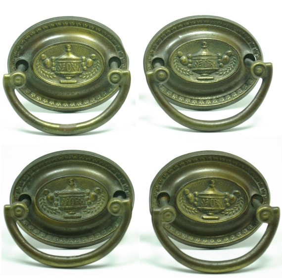 Hepplewhite Sheraton Federal Stamped Antqiue Brass Oval Shaped