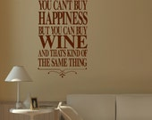 Large Wall Quote Happiness Red White Rose Wine Sticker Transfer Stencil Decal