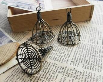 2PCS -  Bird cage pendants charms(3D) 38x50mm  antique Brass tone - No.C4818