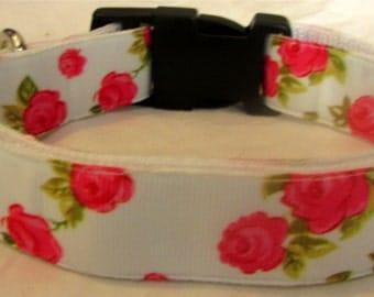 Floral rose dog collar