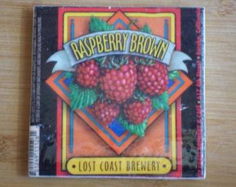 Raspberry Brown. Ceramic Tile Coaster. Lost Coast Brewery