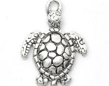 5 Silver Sea Turtle Charms Tortoise Pendants Ocean Creature 4314
